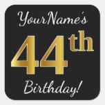 [ Thumbnail: Black, Faux Gold 44th Birthday + Custom Name Sticker ]