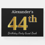 [ Thumbnail: Black, Faux Gold 44th Birthday Party + Custom Name Guest Book ]