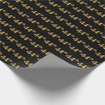 [ Thumbnail: Black, Faux Gold 44th (Forty-Fourth) Event Wrapping Paper ]