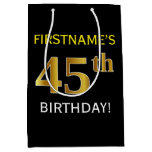 [ Thumbnail: Black, Faux Gold 45th Birthday + Custom Name Gift Bag ]