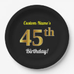 [ Thumbnail: Black, Faux Gold 45th Birthday + Custom Name Paper Plate ]