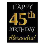 [ Thumbnail: Black, Faux Gold 45th Birthday + Custom Name Postcard ]