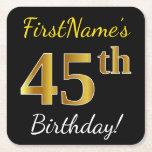 [ Thumbnail: Black, Faux Gold 45th Birthday + Custom Name Paper Coaster ]