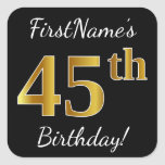 [ Thumbnail: Black, Faux Gold 45th Birthday + Custom Name Sticker ]
