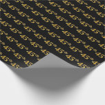 [ Thumbnail: Black, Faux Gold 45th (Forty-Fifth) Event Wrapping Paper ]