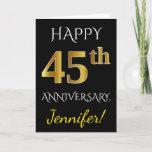 [ Thumbnail: Black, Faux Gold 45th Wedding Anniversary + Name Card ]