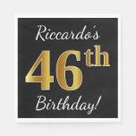 [ Thumbnail: Black, Faux Gold 46th Birthday + Custom Name Napkin ]