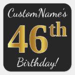 [ Thumbnail: Black, Faux Gold 46th Birthday + Custom Name Sticker ]