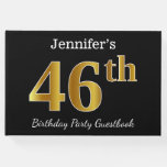 [ Thumbnail: Black, Faux Gold 46th Birthday Party + Custom Name Guest Book ]