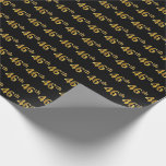 [ Thumbnail: Black, Faux Gold 46th (Forty-Sixth) Event Wrapping Paper ]
