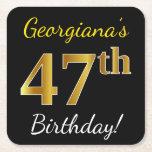 [ Thumbnail: Black, Faux Gold 47th Birthday + Custom Name Paper Coaster ]