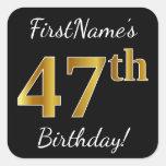 [ Thumbnail: Black, Faux Gold 47th Birthday + Custom Name Sticker ]