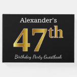 [ Thumbnail: Black, Faux Gold 47th Birthday Party + Custom Name Guest Book ]
