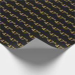 [ Thumbnail: Black, Faux Gold 47th (Forty-Seventh) Event Wrapping Paper ]