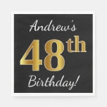 [ Thumbnail: Black, Faux Gold 48th Birthday + Custom Name Napkin ]