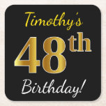 [ Thumbnail: Black, Faux Gold 48th Birthday + Custom Name Paper Coaster ]