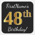 [ Thumbnail: Black, Faux Gold 48th Birthday + Custom Name Sticker ]