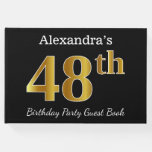 [ Thumbnail: Black, Faux Gold 48th Birthday Party + Custom Name Guest Book ]
