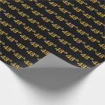 [ Thumbnail: Black, Faux Gold 48th (Forty-Eighth) Event Wrapping Paper ]