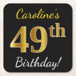 [ Thumbnail: Black, Faux Gold 49th Birthday + Custom Name Paper Coaster ]
