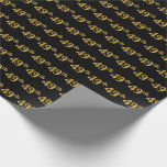 [ Thumbnail: Black, Faux Gold 49th (Forty-Ninth) Event Wrapping Paper ]