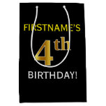 [ Thumbnail: Black, Faux Gold 4th Birthday + Custom Name Gift Bag ]