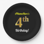 [ Thumbnail: Black, Faux Gold 4th Birthday + Custom Name Paper Plate ]