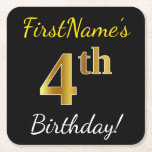 [ Thumbnail: Black, Faux Gold 4th Birthday + Custom Name Paper Coaster ]