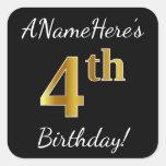 [ Thumbnail: Black, Faux Gold 4th Birthday + Custom Name Sticker ]