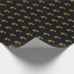 [ Thumbnail: Black, Faux Gold 4th (Fourth) Event Wrapping Paper ]