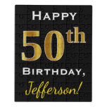 [ Thumbnail: Black, Faux Gold 50th Birthday + Custom Name Jigsaw Puzzle ]