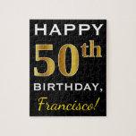 [ Thumbnail: Black, Faux Gold 50th Birthday + Custom Name Jigsaw Puzzle ]