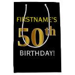 [ Thumbnail: Black, Faux Gold 50th Birthday + Custom Name Gift Bag ]