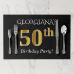 [ Thumbnail: Black, Faux Gold 50th Birthday + Custom Name Paper Placemat ]