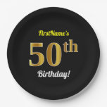 [ Thumbnail: Black, Faux Gold 50th Birthday + Custom Name Paper Plate ]