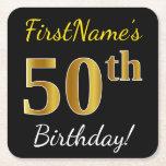 [ Thumbnail: Black, Faux Gold 50th Birthday + Custom Name Paper Coaster ]