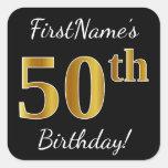 [ Thumbnail: Black, Faux Gold 50th Birthday + Custom Name Sticker ]
