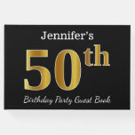 [ Thumbnail: Black, Faux Gold 50th Birthday Party + Custom Name Guest Book ]