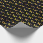 [ Thumbnail: Black, Faux Gold 50th (Fiftieth) Event Wrapping Paper ]