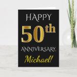 [ Thumbnail: Black, Faux Gold 50th Wedding Anniversary + Name Card ]