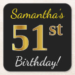 [ Thumbnail: Black, Faux Gold 51st Birthday + Custom Name Paper Coaster ]