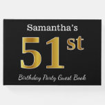 [ Thumbnail: Black, Faux Gold 51st Birthday Party + Custom Name Guest Book ]