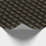 [ Thumbnail: Black, Faux Gold 51st (Fifty-First) Event Wrapping Paper ]