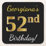 [ Thumbnail: Black, Faux Gold 52nd Birthday + Custom Name Paper Coaster ]