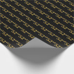 [ Thumbnail: Black, Faux Gold 52nd (Fifty-Second) Event Wrapping Paper ]