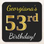 [ Thumbnail: Black, Faux Gold 53rd Birthday + Custom Name Paper Coaster ]