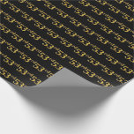 [ Thumbnail: Black, Faux Gold 53rd (Fifty-Third) Event Wrapping Paper ]