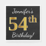 [ Thumbnail: Black, Faux Gold 54th Birthday + Custom Name Napkin ]