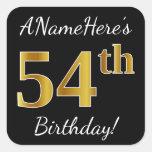[ Thumbnail: Black, Faux Gold 54th Birthday + Custom Name Sticker ]