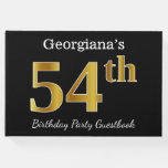 [ Thumbnail: Black, Faux Gold 54th Birthday Party + Custom Name Guest Book ]